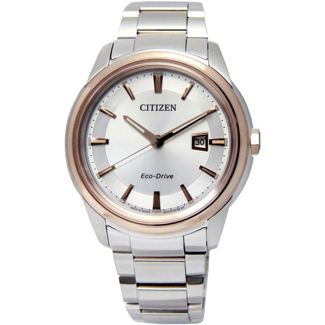 【CITIZEN】Eco-Drive‧都會品味藍寶石玻璃腕錶 玫瑰金框 / 大(AW1124-58A)