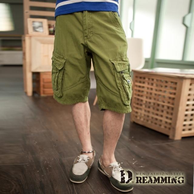 【Dreamming】多口袋可反摺休閒五分短褲(共三色)