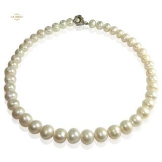 【小樂珠寶】最超值9-10mm天然珍珠項鍊(白色)