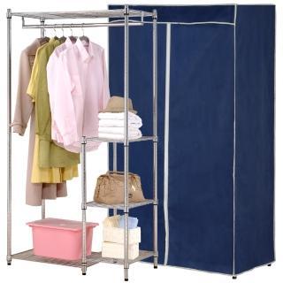 【克諾斯】90*45*180五層防塵衣櫥架(深藍灰邊)