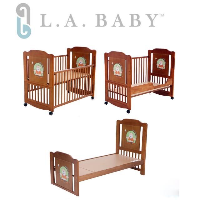 【美國 L.A. Baby】布魯克林三階段嬰兒木床/成長大床/童床(0歲-10歲幼童皆適用)
