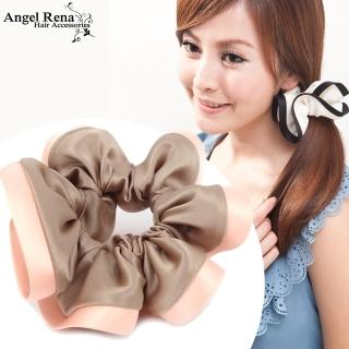 【Angel Rena】諾薇雅綢緞滾邊大腸圈髮束(香檳咖˙蜜桃桔邊)
