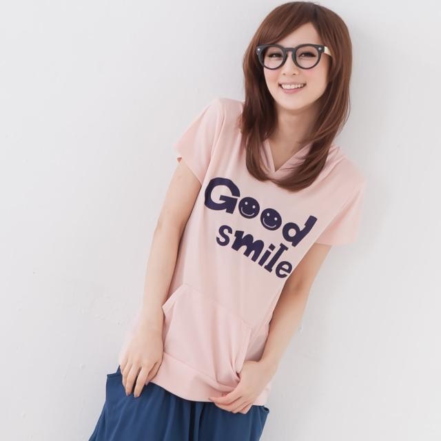 【衣心衣意中大尺碼】休閒心情  微笑smile圖印口袋帽T(藍-粉FH2A1244)