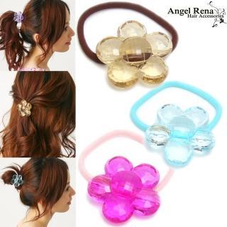 【Angel Rena】璀璨寶石花朵髮束組(香檳-水藍-桃粉)