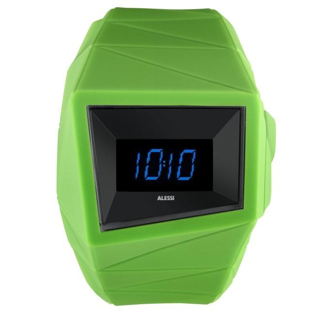 【ALESSI】線條結構立體電子腕錶-綠(AEAL22002)