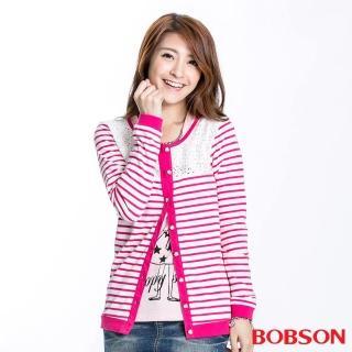 ~BOBSON~女款蕾絲條紋長袖薄外套 桃紅23122~15