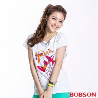 【BOBSON】女款跟鞋印圖短袖上衣(白23111-80)