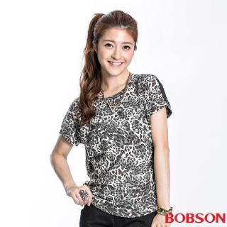 【BOBSON】女款滿版豹紋接雪紡短袖上衣(黑23112-01)