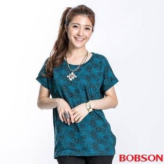 【BOBSON】女款蕾絲印圖接雪紡短袖上衣(藍綠23112-02)
