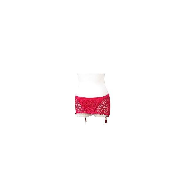 【維多利亞的秘密】紅色惹火超彈性低腰吊襪褲裙(L)