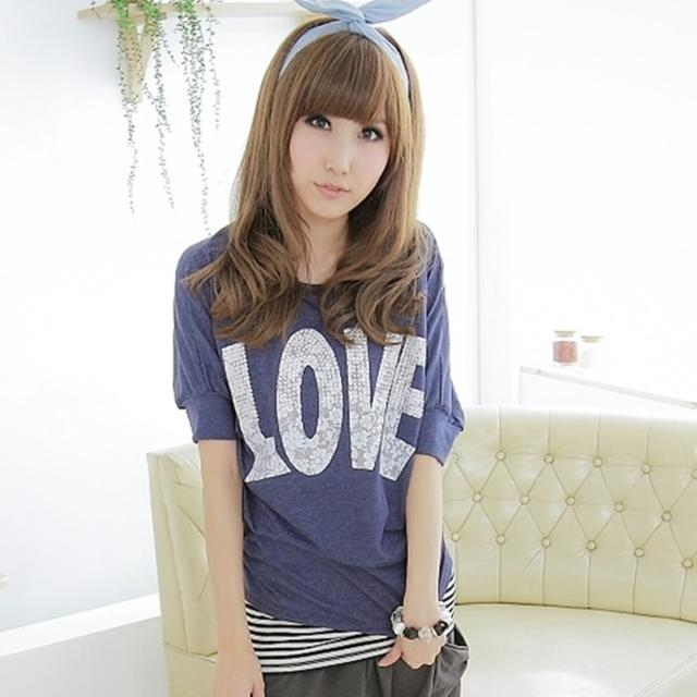 【衣心衣意中大尺碼】閃亮搭配-LOVE+上半身亮麗鑽風格T恤(藍+灰ST3A8130)