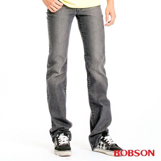 【BOBSON】男款中腰彈性直筒褲(黑灰1776-87)