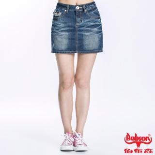 【BOBSON】女款蕾絲繡花牛仔短裙(藍D092-53)