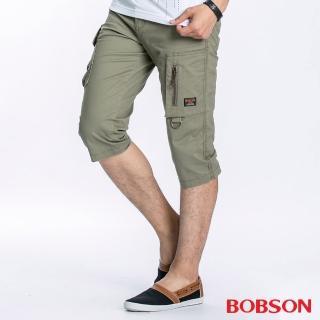 【BOBSON】男款貼袋七分褲(卡其72)
