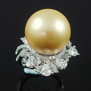 【蕾帝兒珠寶】巴洛克之戀金色貝珠戒指