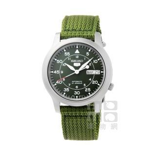 【SEIKO】精工5號野戰機械帆布錶-軍綠(SNK805K2)/