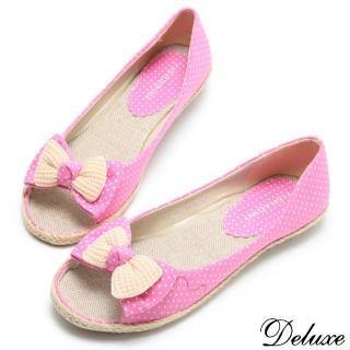 ~Deluxe~韓系可愛點點花布蝴蝶結編織魚口休閒鞋 粉紅