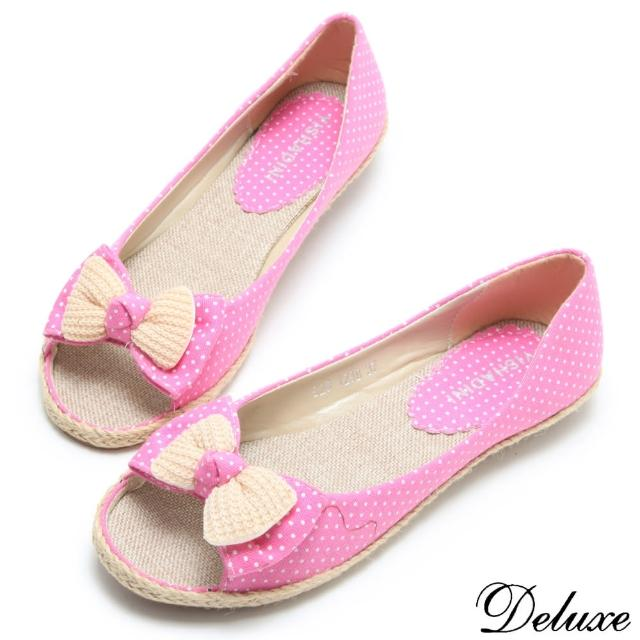 【Deluxe】韓系可愛點點花布蝴蝶結編織魚口休閒鞋(粉紅)