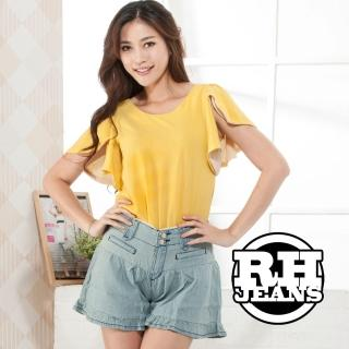 【RH】流行時尚素色牛仔褲裙(藍白全尺碼S-3L最道到貨)