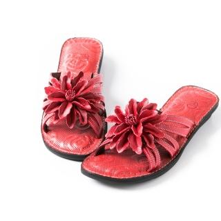 【ALAIN DELON】休閒舒適-全真皮精緻花飾拖鞋W8357(2色 黃色 紅色)