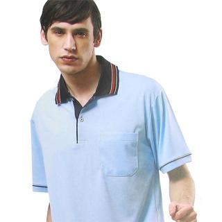 【per GIBO】條領水藍底鳥眼排汗短袖男POLO衫(D13509)