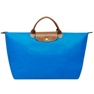 【LONGCHAMP】摺疊短把水餃手提包(大-海藍色-1624089-198)