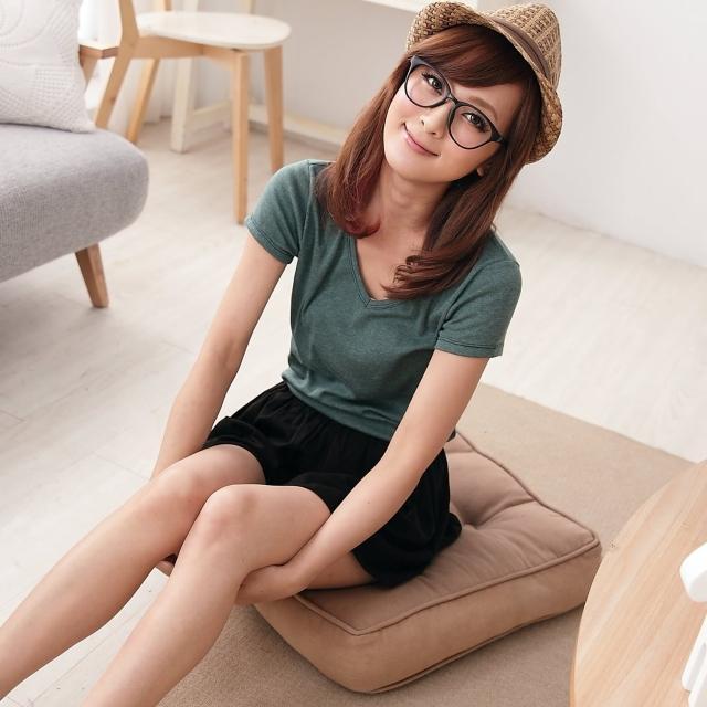 【衣心衣意中大尺碼】簡單自然-韓流素面V領上衣(藍-紫-綠SS1A1252)