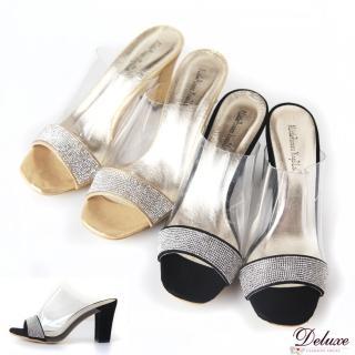 【Deluxe】甜美性感.雜誌注目款透明果凍 整排鑲鑽高跟鞋★二色