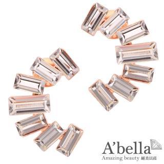 【A'bella浪漫晶飾】微笑方晶水晶耳環