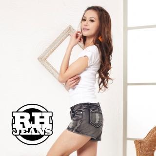 【RH】美式休閒刷破水洗牛仔短褲(復古灰全尺碼S-XXL)
