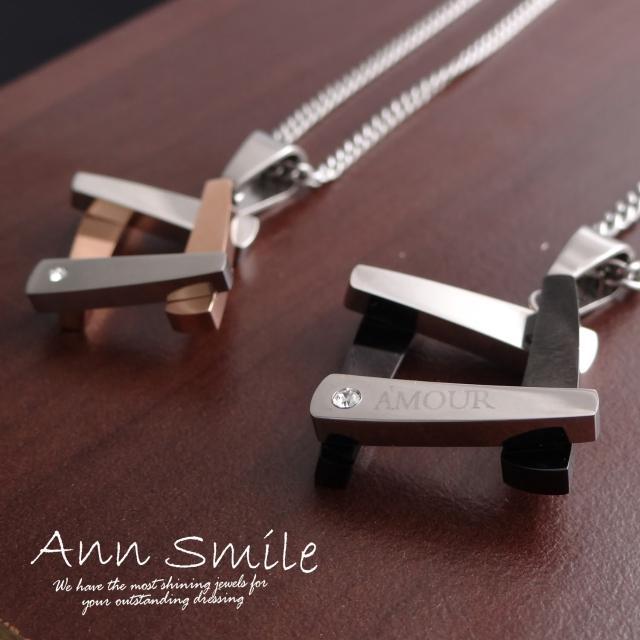 【微笑安安】雙色幾何鏤空方塊316L鈦鋼項鍊(共2款)