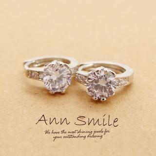 【微笑安安】蝴蝶雕紋綴鋯石易扣針式耳環(共4色)