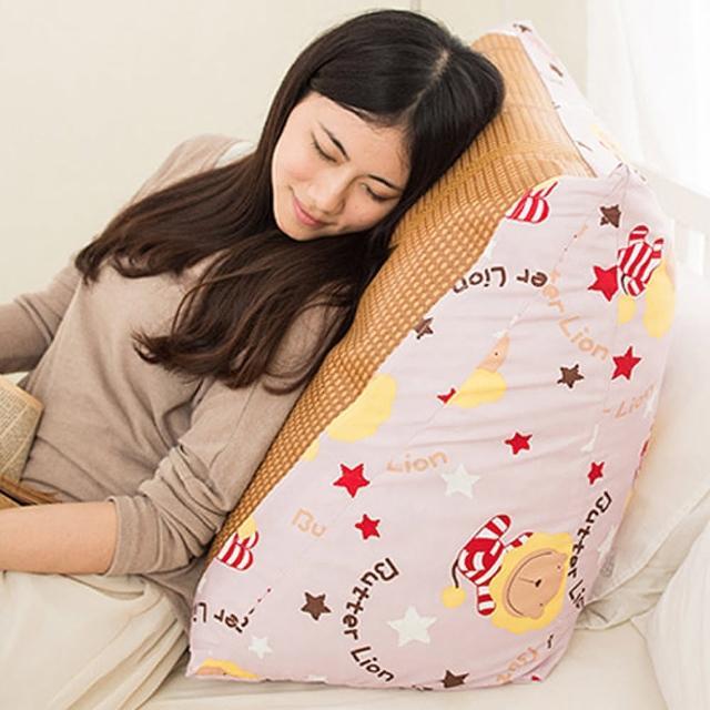 【奶油獅】正版授權-台灣製造-搖滾星星紙纖舒涼三角靠墊-淡紫(一入)