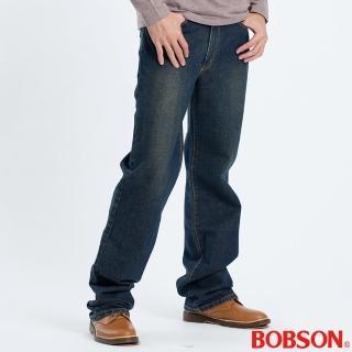 【BOBSON】男款復古刷色中直筒褲(藍53)