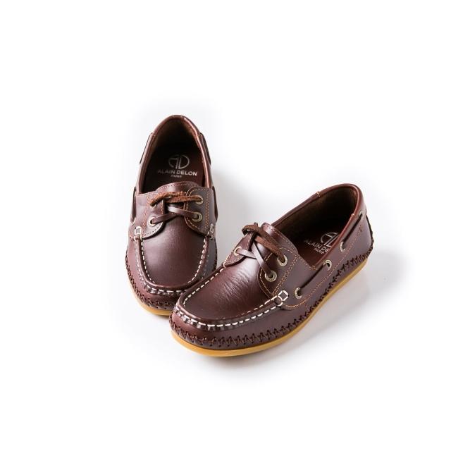 【ALAIN DELON】休閒舒適-MIT真皮舒適豆豆鞋W7230(3色 咖啡色 黃色 紅色)