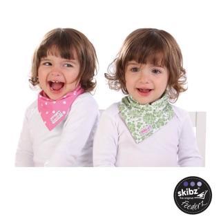【skibz】時尚雙面領巾(綠花/粉紅點點)