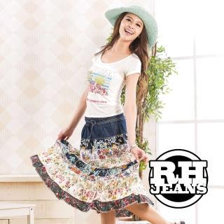 【RH】併接花布牛仔洋裝裙(活力藍)