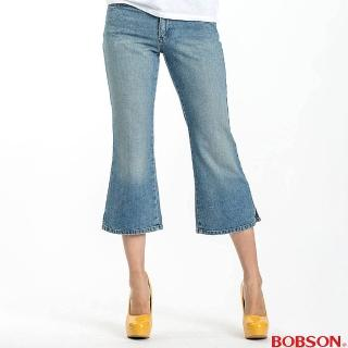 【BOBSON】女款低腰刷洗八分小喇叭褲(藍104-58)