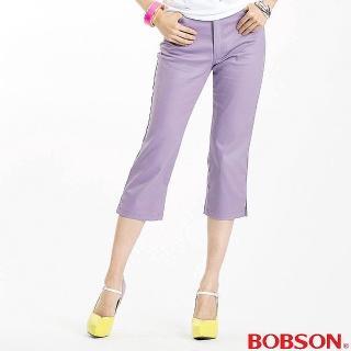 【BOBSON】女款色布伸縮七分褲(紫102-61)