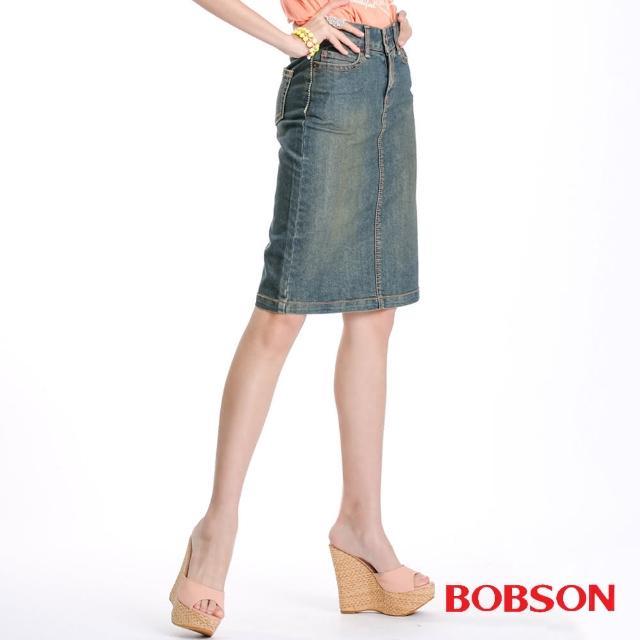 【BOBSON】女款小尻革命伸縮牛仔短裙(深藍77)