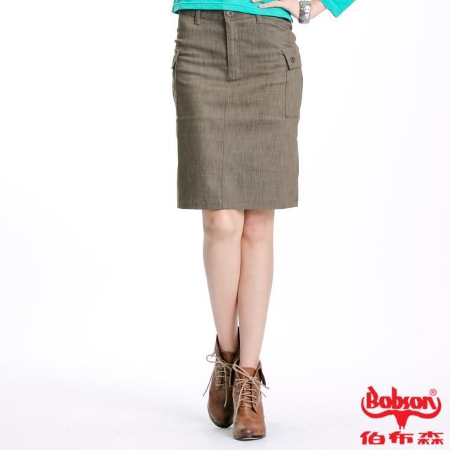 BOBSON 女款貼袋伸縮短裙(綠D063-41)