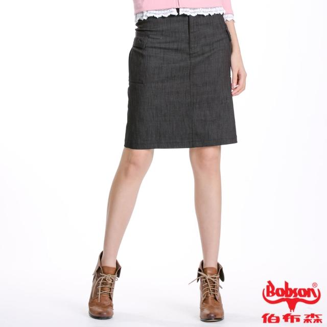 【BOBSON】女款貼袋彈性伸縮短裙(黑D063-88)
