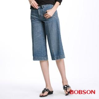 【BOBSON】女款低腰粗結紗七分褲(藍112-58)