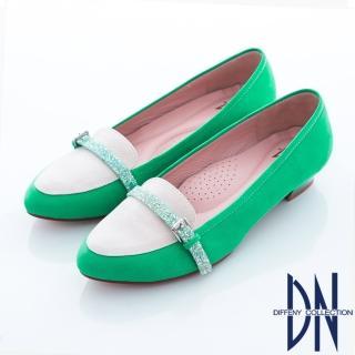 【DN】甜繽紛馬卡龍 甜美水鑽邊帶尖頭鞋(綠)