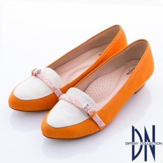 【DN】甜繽紛馬卡龍 甜美水鑽邊帶尖頭鞋(橘)