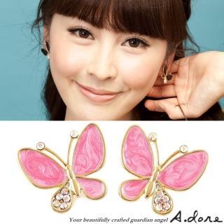 【A.dore】伊莎貝拉˙水晶蝴蝶耳環(珠光粉紅)