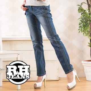 【RH】立體剪裁口袋造型牛仔長褲(活力藍)