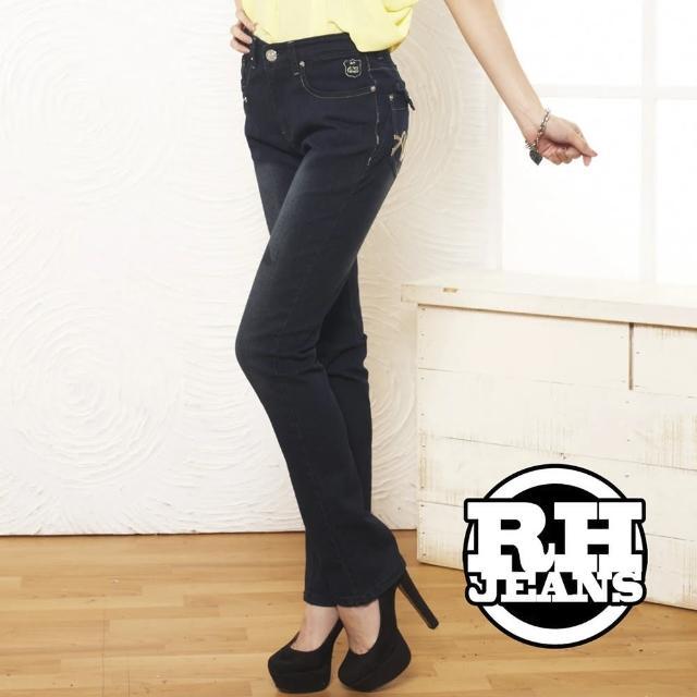 【RH】3D立體剪裁合身牛子褲(活力深藍)