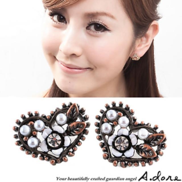 【A.dore】拜占庭愛心˙雕花水晶珍珠耳環(古銅象牙白)