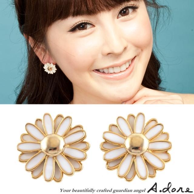 【A.dore】巧克波斯菊˙花朵盛開耳環(金˙白)